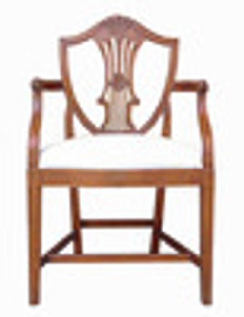 Custom Decorator - Hardwood Hand Carved Reproduction - Classic Fauteuil - Dining | Accent 38.6 Inch Arm Chair - Carved Shield Back and Upholstered Seat