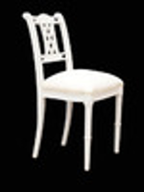 Custom Decorator - Hardwood Hand Carved Reproduction - American Federal Regency Dining | Accent 35.4 Inch Side Chair - Carved Back and Upholstered Seat