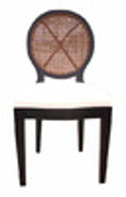 Custom Decorator - Mahogany Hardwood - Modern Contemporary Dining | Accent 40.6 Inch Side Chair - Round Cane Back and Upholstered Seat