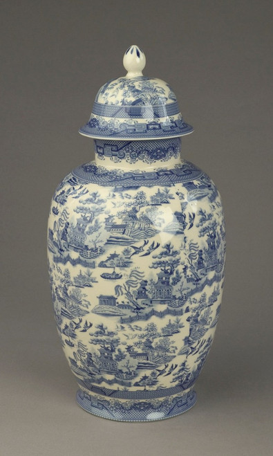 Blue and White Transferware Porcelain Jar, 16 Inches Tall