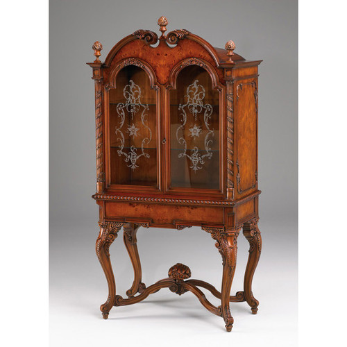 French Renaissance Style - 75 Inch Carved and Burlwood - Etched Glass Display Cabinet - Rich Wood Luxurie Furniture Finish