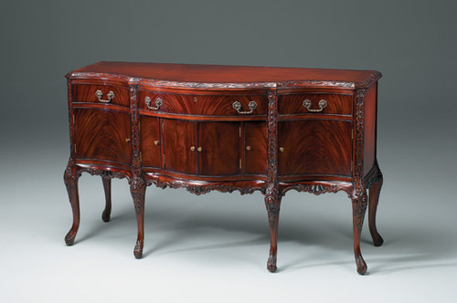 French Style Serpentine Sideboard - 67 Inch Carved Hardwood Buffet - Rich Wood Luxurie Furniture Finish