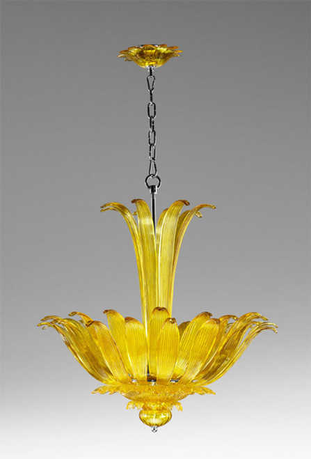 Foglie di Vetro Pattern - Transparent Lemon Yellow Finely Finished Glass - Four Light 26 Inch Chandelier