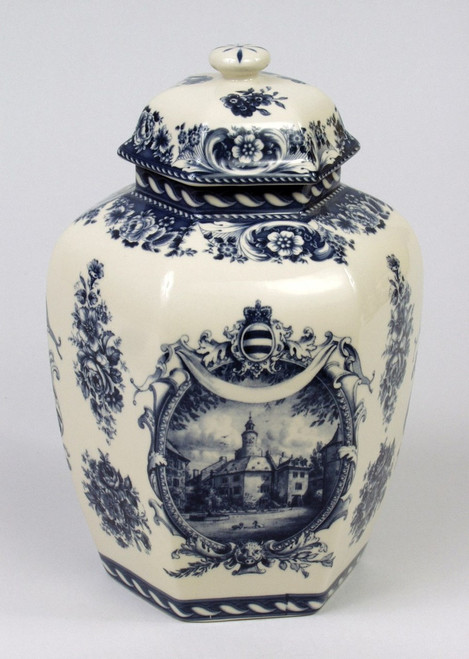 Blue and White Transferware Porcelain Jar, 10.5 Inches Tall