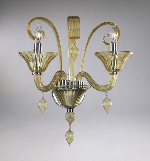 Transparent Golden Teak Glass Wall Bracket   Sconce - Contemporary Style - Two Lights