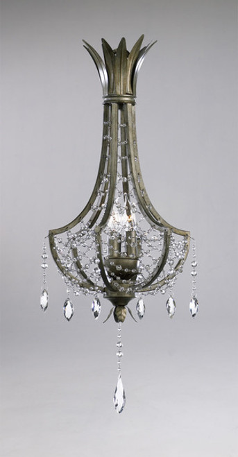 Feuille de Laurier - Rose Three Light Wrought Iron - 24.5 Inch Pendant Chandelier - Bronze Finish - Draped with Crystal