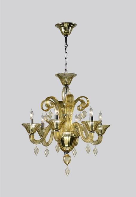 Transparent Golden Teak Glass Chandelier - Contemporary Style - Six Lights