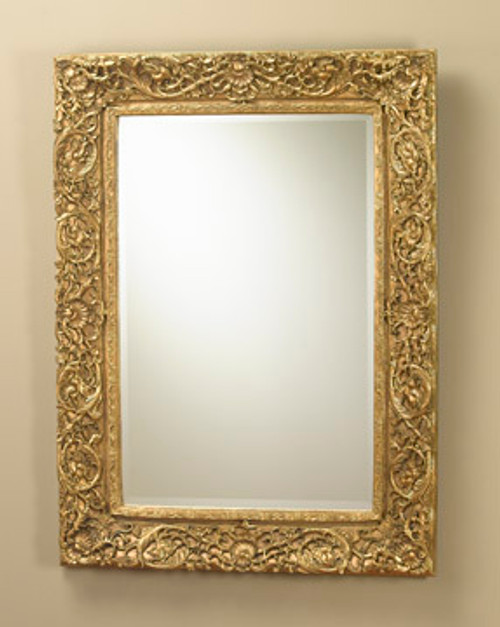 "Baroque Louis XIII Carver Style 46"" Rectangular Bevel European Style Mirror - Gilt Finish, 5110"