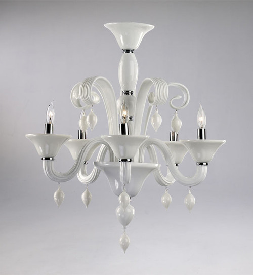 Gloss White Glass Chandelier - Contemporary Style - Five Lights