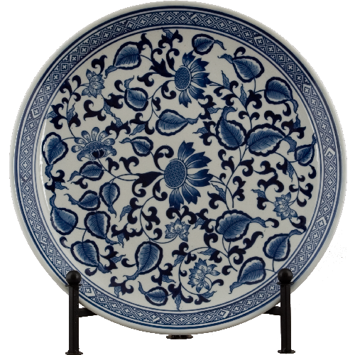 Blue and White Decorative Porcelain Plate - 16 Inch Diameter 7009 AOL