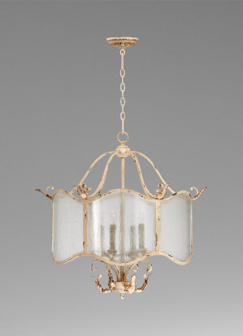 French Country Pattern - Wrought Iron and Wood Four Light Chandelier - Distressed White Finish