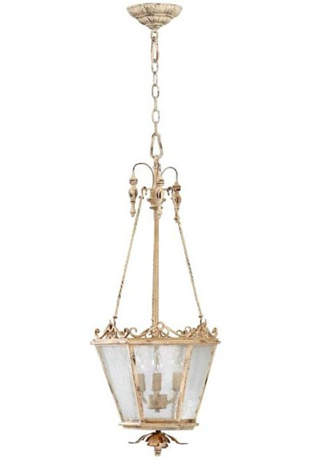 French Country Pattern - Wrought Iron and Wood Three Light Entry | Foyer Light - Distressed White Finish