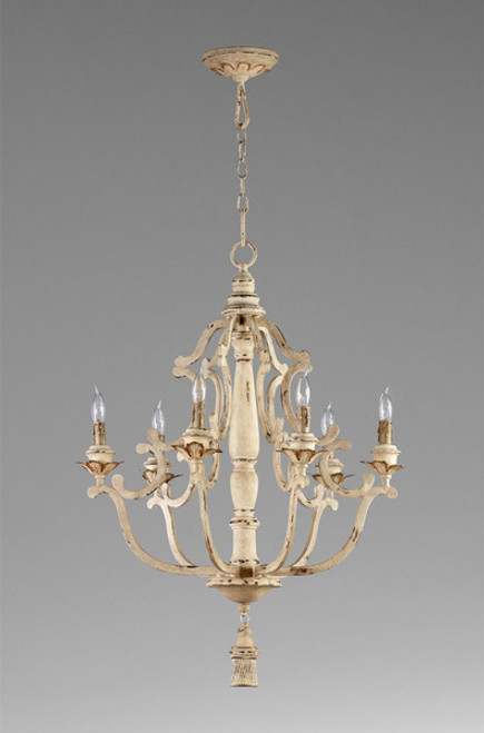 French Country Pattern - Wrought Iron and Wood Six Light Chandelier - Distressed White Finish