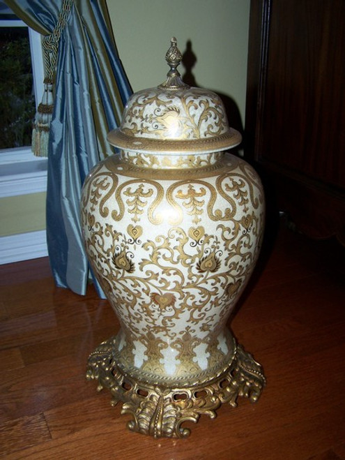 An Ivory and Gold Lotus Scroll Arabesque with Gilded Brass Ormolu - Luxury Handmade Reproduction Chinese Porcelain - Statement 25.5 Inch Palace Temple Jar Style D1