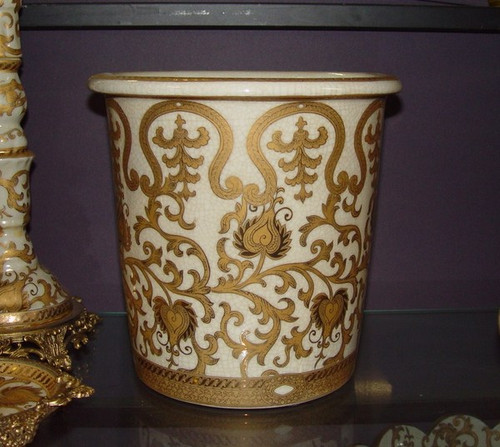 Ivory and Gold Lotus Scroll Arabesque, Luxury Handmade Reproduction Chinese Porcelain, Customizable 10 Inch Wastebasket, Style 922