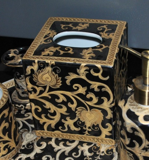 Ebony Black and Gold Lotus Scroll, Luxury Handmade Reproduction Chinese Porcelain, 6 Inch Boudoir - Boutique Tissue Box, Style M422