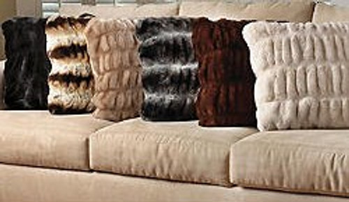Softest Ever Faux Fur - Sheared and Gather Pleated - 18 Inch Square Pillow, 4970
