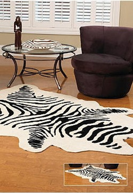 Zebra Faux Skin Rug - Natural Look and Authentic Shape - 56 Inches X 93 Inches