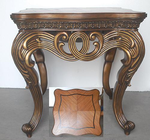 Rotolo Leggero - 28 Inch End   Lamp   Side Table - Rich Wood Tone and Soft Gold Finish