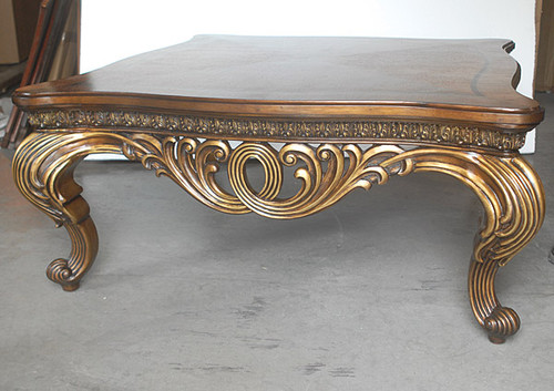 Rotolo Leggero - 44 Inch Cocktail   Coffee Table - Rich Wood Tone and Soft Gold Finish