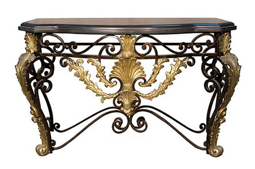Marble and Iron - Beverly Hills 53 Inch Rocaille Entry Console Table - Gilt Accents