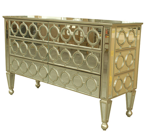 "Neo Classical Louis XVI - 52"" Mirrored Entry Chest, Dresser - Painted Finish, 4835"