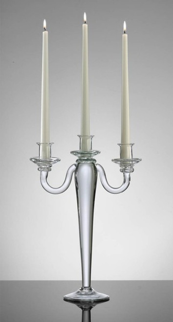 Clear Glass, Contemporary Style, 15 Inch Three Taper Candle Candelabrum