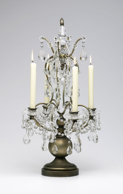 Louis XIV Iron and Crystal Taper Candle Holder, Baroque Style 24.5 Inch Candelabrum