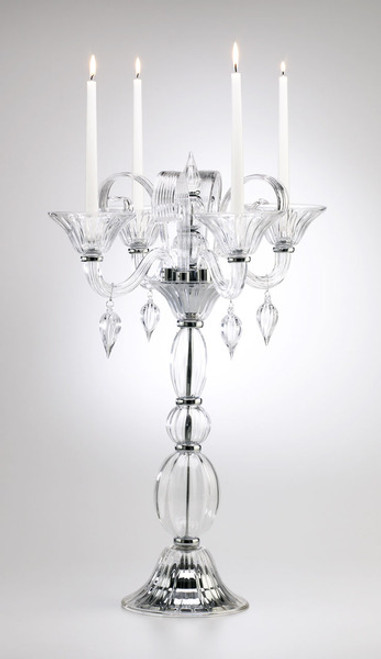Contemporary Venetian Style Fluted Crystal and Chrome, 29 inch Candelabrum