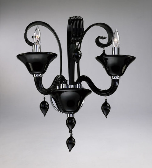 Ebony Black Finely Finished Glass 16 Inch Wall Bracket Sconce - Contemporary Style - Two Lights