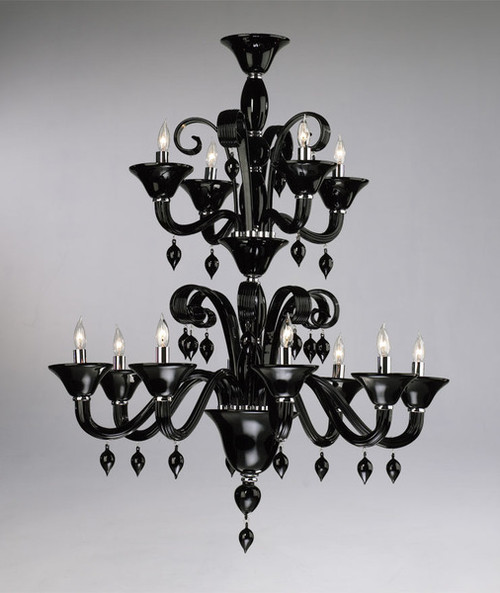 Ebony Black Finely Finished Glass 38 Inch Chandelier - Contemporary Style - Twelve Lights