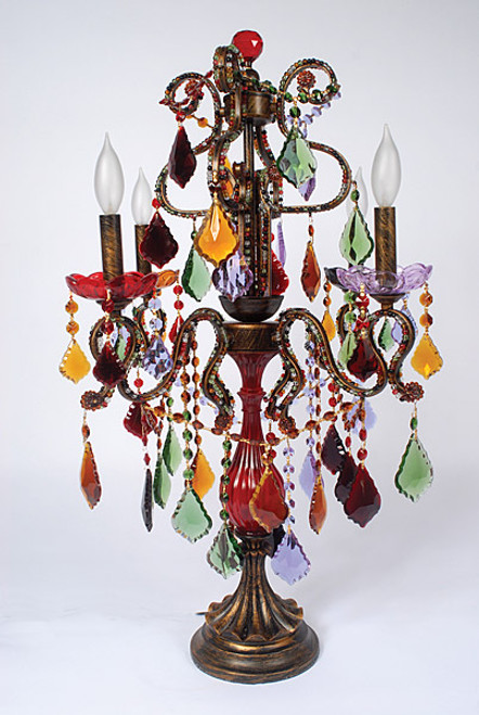 Murano Venetian Style Multi Color French Pendant, 31 Inch Electric Candelabrum, Antique Finish