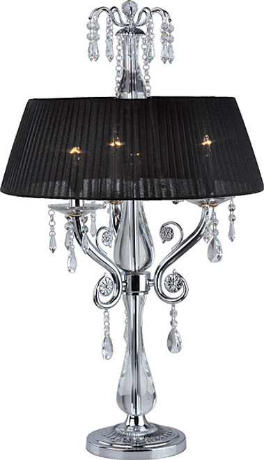 Contemporary Style - 34.5 Inch Electric Candelabrum Crystalline Lamp - Modern Black and Chrome Finish