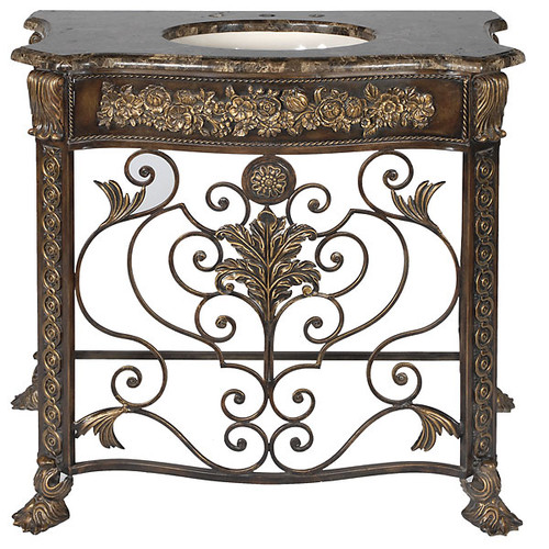 Marble Top - Hand Carved Wood and Scrolled Iron - Single Bowl - 41 inch Lavatory Console Vanity
