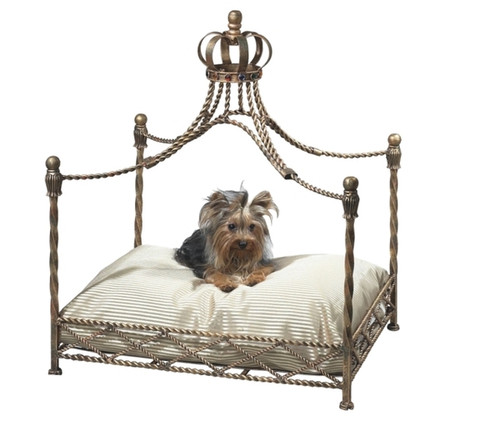 The Pampered Pet - Crown Jewel Luxury Four Post Canopy Pet Bed - Antique Gold Finish