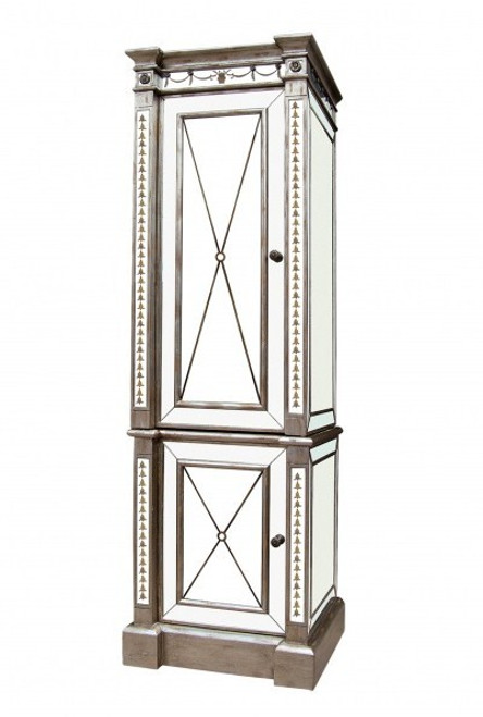 Reverse Hand Painted Silver Mirror - Storage Cabinet, Linen Closet - Louis XVI Neo Classical Style