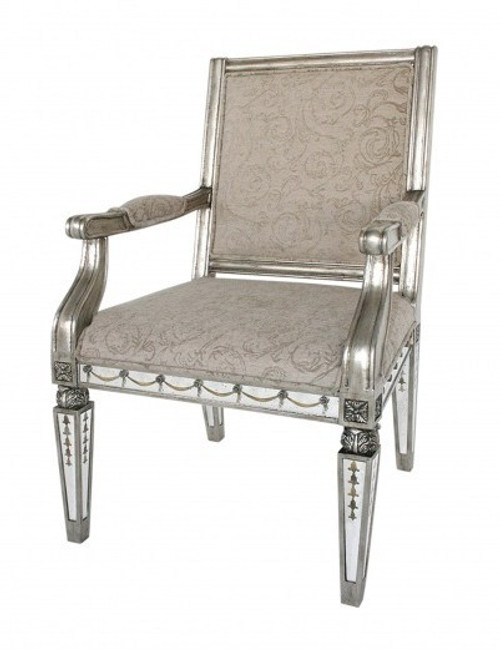 Reverse Hand Painted Silver Mirror - Fauteuil Arm, Salon Chair - Louis XVI Neo Classical Style