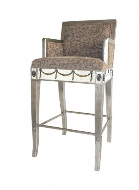 Reverse Hand Painted Silver Mirror - Bar Stool, Chair - Louis XVI Neo Classical Style