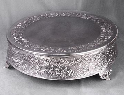 Floral and Vine Design, 18 Inch Footed Cake Stand | Display, Silver Finish