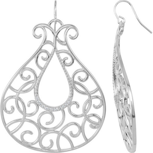 26 Diamonds and Supreme Sterling Silver 925 | Big and Bold Rococo C Scroll Dangle Earrings