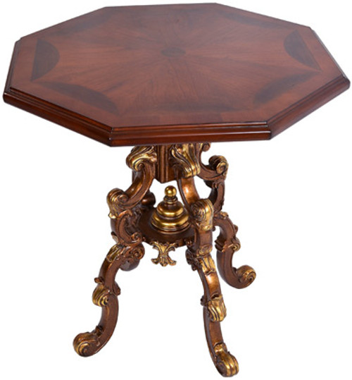 Iron Rococo C Scroll - 26 Inch Octagonal Accent End Table