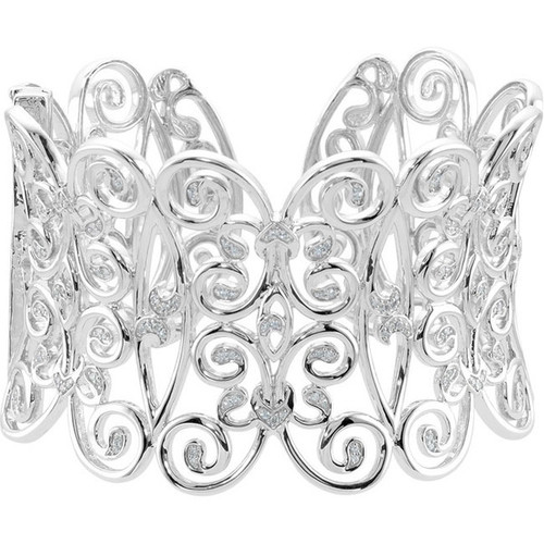 Supreme Sterling Silver 925 | 125 Diamonds - Big and Bold Rococo C Scroll Cuff Bracelet