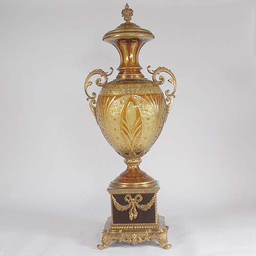 Hand Cut Amber Bohemian Czech Crystal, 45 Inch Palace Size Covered Urn, Guilded Bronze Mounts
