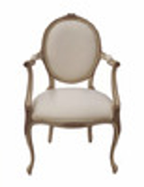 Custom Decorator - Hardwood Hand Carved Reproduction - Transition | Louis XV Rococo and Louis XVI Neo Classical Fauteuil - Dining | Accent 37 Inch Arm Chair - Upholstered Oval Back and Seat
