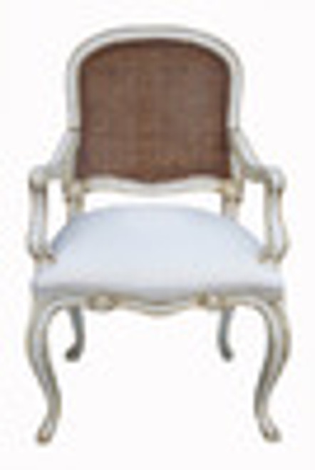Custom Decorator - Classic 39.4 inch Dining Arm Chair - Cane Back   Upholstered Seat