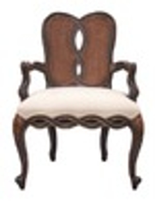 Custom Decorator - Classic 40.6 inch Dining Arm Chair - Cane Back   Upholstered Seat