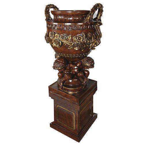 Cast, Cherub and Garland Design 79 Inch Urn & Plinth, Pedestal Planter