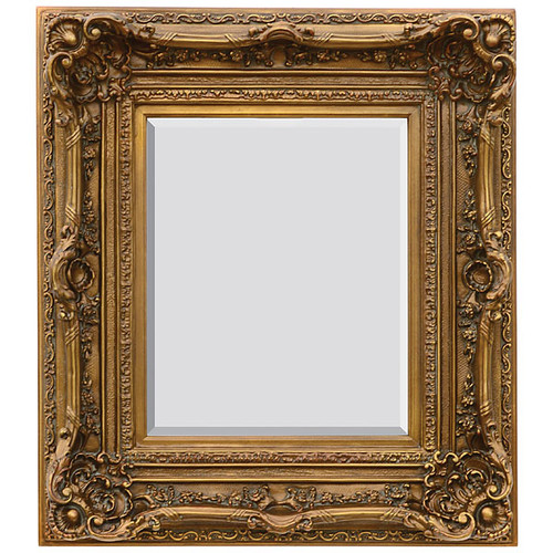 "A French Baroque Louis Quatorze Style, 7.5""w Oversized Frame, Medium 42""t Drama Bevel Glass Dorado de Oro Gold Mirror, 6968"