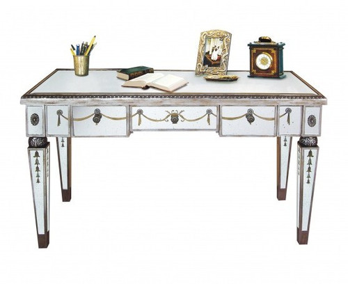 Reverse Hand Painted Silver Mirror - 48 Inch Writing Desk, Sofa Table - Louis XVI Neo Classical Style