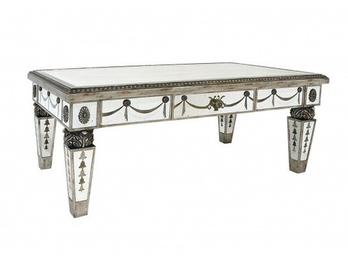 Reverse Hand Painted Silver Mirror - 48 Inch Coffee Table - Louis XVI Neo Classical Style